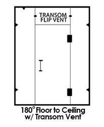 180 floor to ceiling shower with transom vent